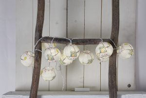 Lampion-Lichterkette mit Eulen-Motiv